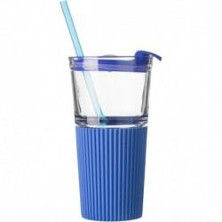 Szklany kubek, silikonowy uchwyt, słomka