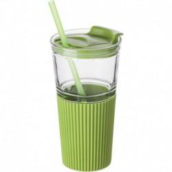 Szklany kubek 500 ml ze słomką